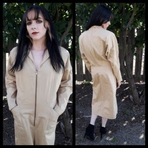 Amazing vintage 80's Khaki zip front dress!